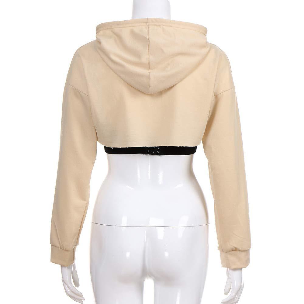TONSEE Women Hollow Out Short T-Shirt Hooded Sweatshirt
