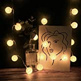 CapsA Globe LED String Lights, 20 LED Cotton Remote Control String Lights Decor Battery Powered Starry Fairy String Lights for Bedroom, Garden, Christmas Tree, Wedding, Party (Beige)