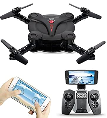 AICase FQ17W WIFI FPV Foldable Pocket Mini Drone With 0.3MP Camera Altitude Hold Mode RC Quacopter Helicopter RTF with Remote Control - Black