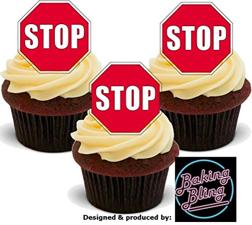 Stop Road Sign 12 Standup Edible Premium Wafer Paper Cake Toppers Decoration 12 X 55Mm (Photo Sign Stop)
