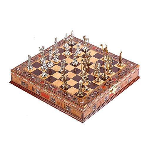 uego de ajedrez de metal para adultos, piezas hechas a mano y tablero de ajedrez de madera maciza natural con diseño de…