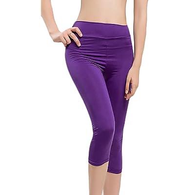 ARRIVE GUIDE Womens Stretchy Solid Comfy Vogue Sport Capri Legging