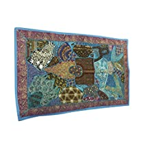 Mogul Blue Embroidered Tapestry Patchwork Handmade Wall Hanging Wall Decor Idea
