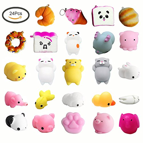 OceanWaves ,SQUISHIES Toys Set,24 pcs Mini Size Slow Rising Toys and Kawaii Mochi Including Cats Mochi,Bread,Rabbit,Panda,Ice Cream ETC for Party Favors Fidget Stress Relief and Fun ()