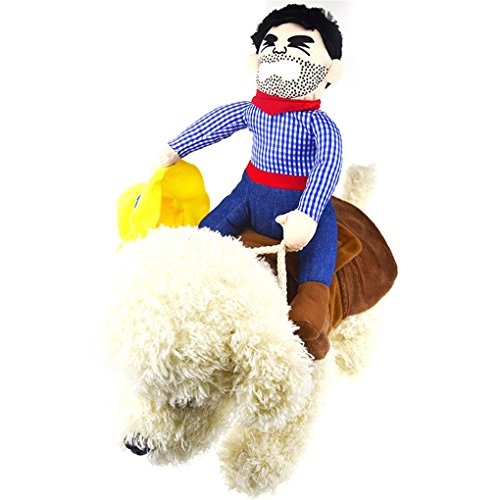 Large Dog Teddy Bear Costume (WMSTUDIO Pet Dog Halloween Cowboy Funny Costume Dog knight Riders Clothes)