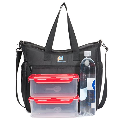 Large Lunch Bag-13x13x5.8 Inches. Premium Fabric, Thick Foam Insulation, Strong Peva Liner, Many Pockets, Durable Zipper, Strong Stitching, Long Shoulder Straps, Metal Clips.