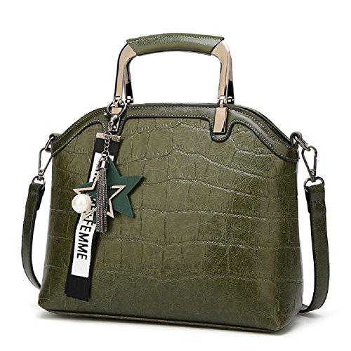 Oudan Bolso cruzado del bolso de la mujer del cuero de la vendimia Bolso grande elegante de la capacidad con la estrella (Color : Verde, tamaño : Un tamaño) Verde
