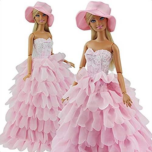 FairyStar Pink Multi Layer Peacock Leaf Wedding Dress - Barbie Doll In Pink Dress