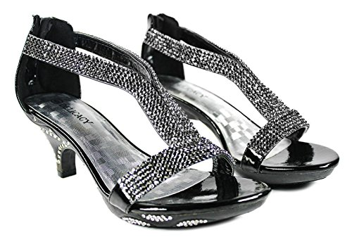 Donne Strass Strappy Open Toe Mid Heel Dress Sandalo Nero Pompe Black_l-73