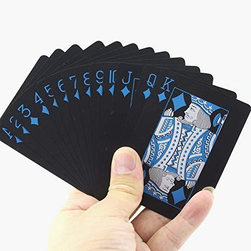 Silvery トランプゲーム ポーカー 55枚/デッキ 防水 プラスチック ポーカーPVCセット ピュアカラー ブラック ポーカーカードセット クラシックボードゲーム クールなサイプレイングカード マジックツール カーディストリーパーティーギフトに最適