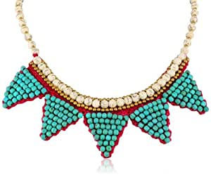 """Panacea Turquoise Triangle Hot Pink Rope Necklace, 18"""""""