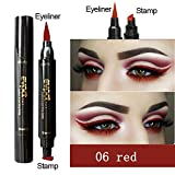 HuntGold Eyeliner With Eye Wing Stamp Dual Ended Liquid Waterproof Natural For Beginners 15.5g -06#Red