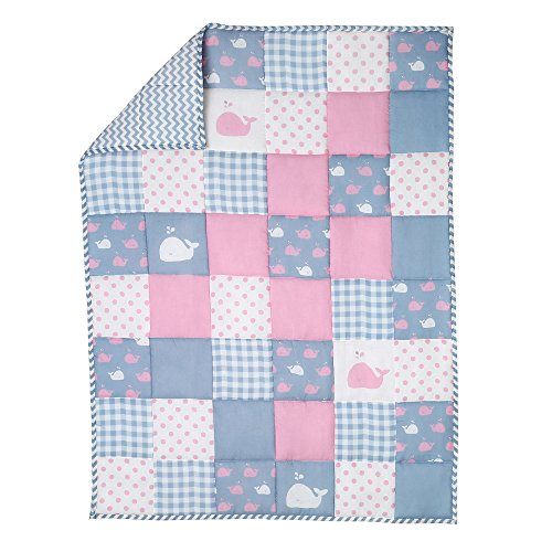 Pink and Grey Soft Baby Quilt for New Born Girls and Boys -