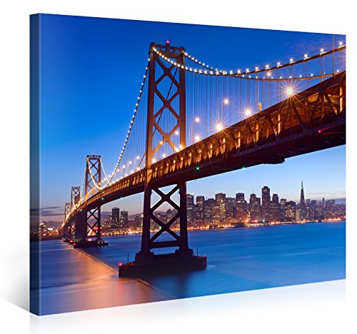 (Large Canvas Print Wall Art - BAY BRIDGE TWILIGHT - 40x30 Inch San Francisco Cityscape Canvas Picture Stretched On A Wooden Frame - Giclee Canvas Printing - Hanging Wall Deco Picture / e3774)