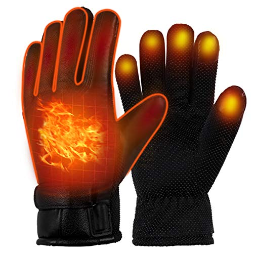 GEWU Heated Gloves for Men and Women, USB Heated Gloves Winter Thermal Gloves Men's Electric Heated Gloves Cold Weather Heating Gloves Hand Warmer M Size