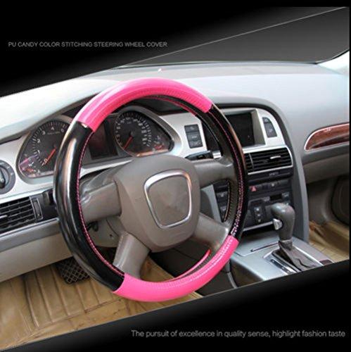 Amooca fashionable Universal leatheroid durable steering wheel cover Odorless 38cm Pink + Black candy color (Camo Pink Steering Wheel Cover compare prices)