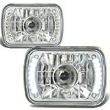 92 toyota pickup headlights - 7X6 Inch Glass Lnes Bult-In LED Projector Headlight Lamps Set of 2 - Chrome Housing