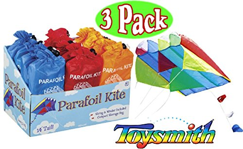 Pocket Kite (Toysmith Parafoil Kites Red, Blue & Orange Gift Set Bundle - 3 Pack)