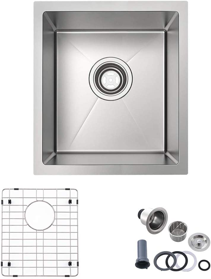 Bokaiya 15 x 17 Inch Stainless Steel Undermount Kitchen Sink 16 Gauge Deep Single Bowl Wet Bar or Prep Sink