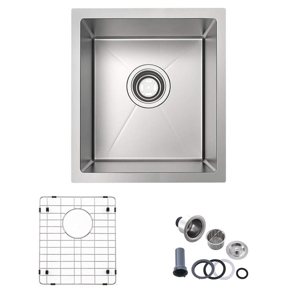 Bokaiya 15'' x 17'' Inch Stainless Steel Undermount Kitchen Sink 16 Gauge Deep Single Bowl Wet Bar or Prep Sink by Bokaiya