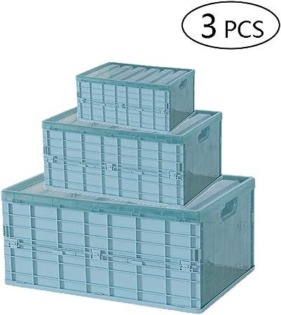 3 Piezas Multifuncional Transparente Almacenamiento Plástico Cesto Plegable Apilables Cajas Almacenaje Caja Plegable Lea Cesta Ordenación Portátil Organizador,Verde: Amazon.es: Hogar