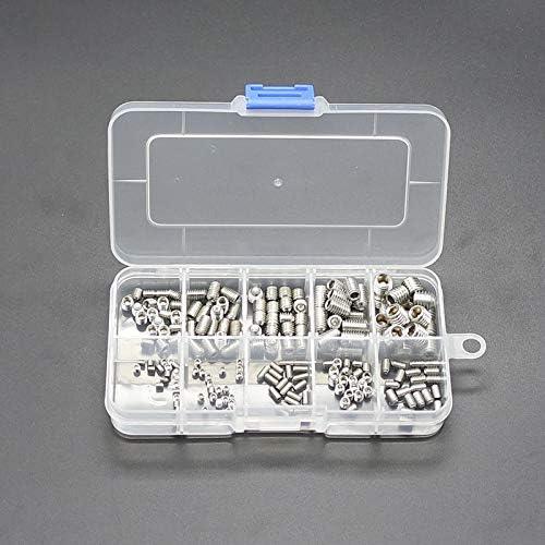 200pcs M3//M4//M5//M6//M8 304 Stainless Steel Socket Hex Allen Set Screw Sorting kit with Storage Box M3x3 M3x4 M3x6 M4x4 M4x6 M5x5 M5x8 M6x6 M6x10 M8x8 A2-70 DIN912