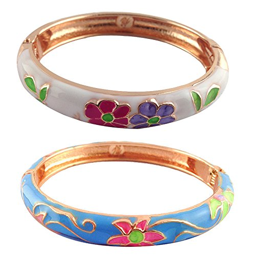 - UJOY Designer Couple Bracelets Set Indian Enamel Hinged Open Clasp Cuff Cloisonne Bangle Jewelry Box for Women 55B06 Blue