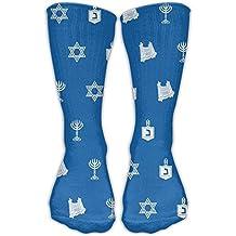 Hanukkah Motif Blue Colorful Patterned Crew Socks Long Compression Socks For Women And Men