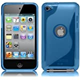 iPod Touch4 TPU Sデザインソフトケースカバー 液晶保護フィルム&クリーナー1セット付属 ブルー(青)
