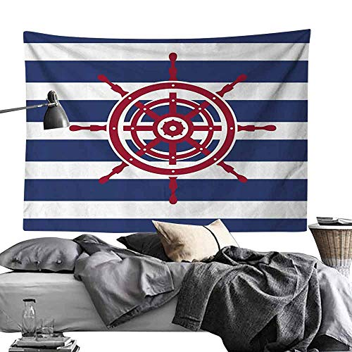 Homrkey Bedroom Living Room Dormitory Tapestry Ships Wheel Decor Illustration of Ship Wheel Icon on a Stripped Background Fashionable Decorating Art Wall Hanging W70 x L59 Violet Blue Ruby