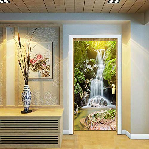 - 3D Door Stickers Decor Door Decal Door Mural Removable Vinyl Door Wall Mural Door Wallpaper for Home Decor 30.3x78.7 (Waterfall)