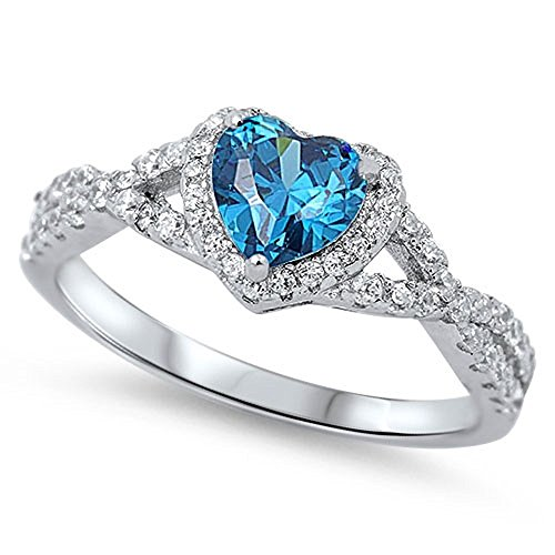 Heart Shaped Blue Simulated Topaz Cubic Zirconia Swirl Heart Ring 925 Sterling Silver Size 4 -