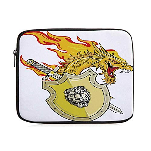 Dragon,Legendary Creature with Royal Shield Sword Hero Knight Medieval Print,One Size (King Arthur Legend Of The Sword Mojo)