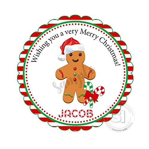 Printable Custom Gingerbread Cookie Tagstoppersholidays Wishes Personalized Tags Stickers 2.5 Inches with 15Pcs ()