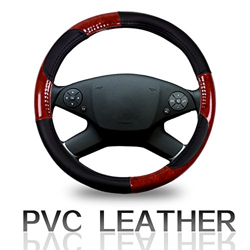 ECCPP Steering Wheel Cover 15 Inch Universal Leather Car Steering Wheel Cover - Black/Brown Wood Grain ()
