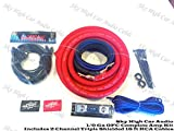 Oversized 1/0 Ga OFC AWG Amp Kit Twisted RCA Red Black Complete Sky High