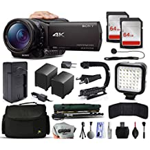 Sony FDR-AX100 4K Ultra HD Camcorder Video Camera + 128GB Memory + Charger with Car/Euro Adapter + Action Stabilizer + LED Night Light + Cap Keeper + Large Case + Monopod + Dust Cleaning Kit + More