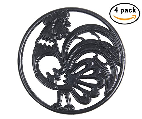 Cast Iron Trivet Set - Round with Charming Rooster Pattern - Trivets Protect Kitchen Surface and Dining Table - 8 Inch Wide with Non-skid Rubber Feet by Upstreet Cast Iron Steel Trivet