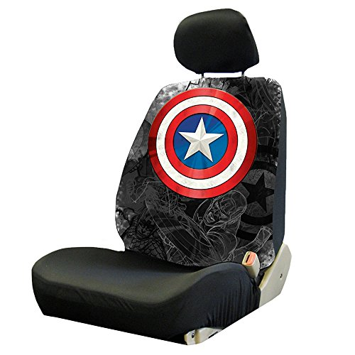 Captain America Colored Shield Logo Avengers Marvel Comics Auto Car Truck SUV Vehicle Low Back Front Bucket Seat Cover - SINGLE