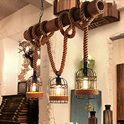 YCLED Loft Lámpara de cáñamo Lámparas industriales 3 Luces Cuerda ...