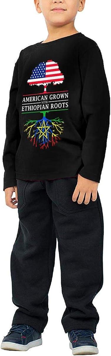 HADYKIDSLOVE American Grown with Ethiopian Roots Kids T-Shirt Long Sleeve Boys Girls T-Shirt