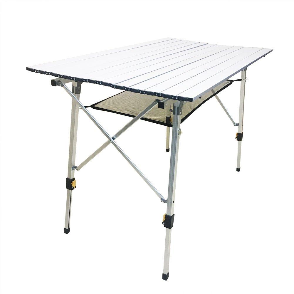 CampLand アルミ製 高さ調節可能 折りたたみテーブル キャンプ アウトドア 軽量 キャンプ ビーチ 裏庭 BBQ パーティー ピクニックに  D B07B7GB3S6