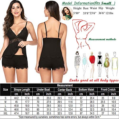 wearella Womens Sweetness Cami Set Lace Camisole Lingerie Nightwear Sexy Pajamas Lounge Sets