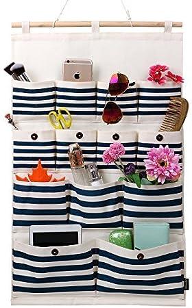 Tela de algodón de lino Homecube/13 bolsillos de pared puerta armario colgando bolsa de almacenamiento organizador (Rayas negras): Amazon.es: Hogar