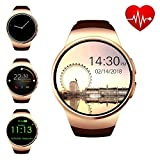 ZAOYI Bluetooth Smart Watch Cell Phone, Round Touch Screen Smartwatch Support SIM Card TF Card with Heart Rate Monitor for Men, Compatible with iOS iPhone and Android Samsung Phone(Gold)
