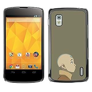 // PHONE CASE GIFT // Duro Estuche protector PC Cáscara Plástico Carcasa Funda Hard Protective Case for LG Nexus 4 E960 / Joven dobladora de aire /
