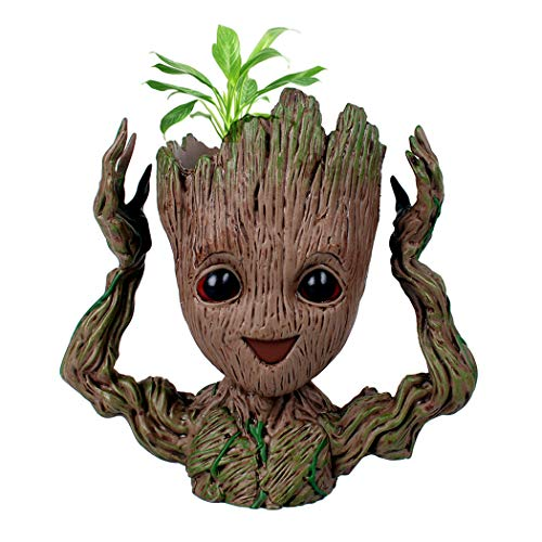 6.3inch Guardians of The Galaxy Baby Groot Flowerpot Tree Man Pen Holder or Flower Pot with Drainage Hole Perfect for a Tiny Succulents Plants Gift Ideas