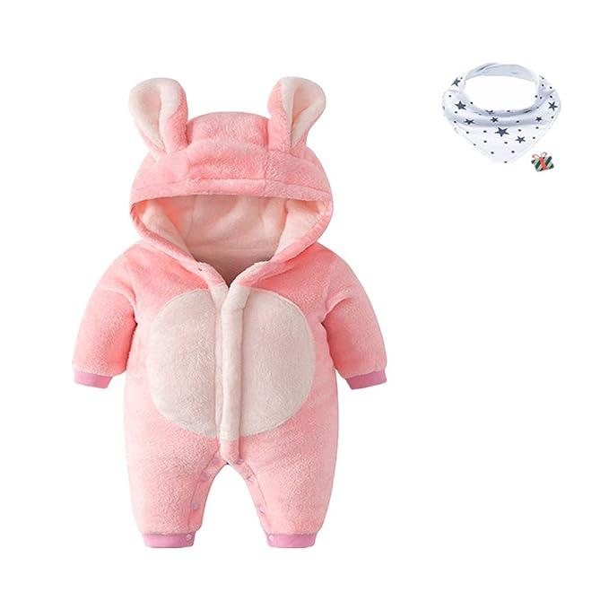 Morbuy Traje de Nieve Bebé, Recién Nacido Espesar Ropa de Invierno Peleles Mameluco con Capucha