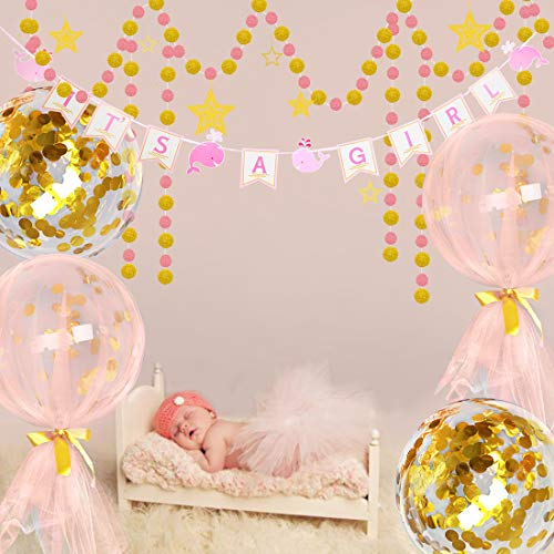 (Casadeco It's A Girl Baby Shower Decorations Kit Confetti Bobo Balloon Whales Banner Gold and Pink Circles Dots Garlands Bunting)