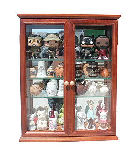 Small Wall Mounted Curio Cabinet/Wall Display Case with Glass Door (Mahogany Finish) (Glass Mahogany Cabinet)